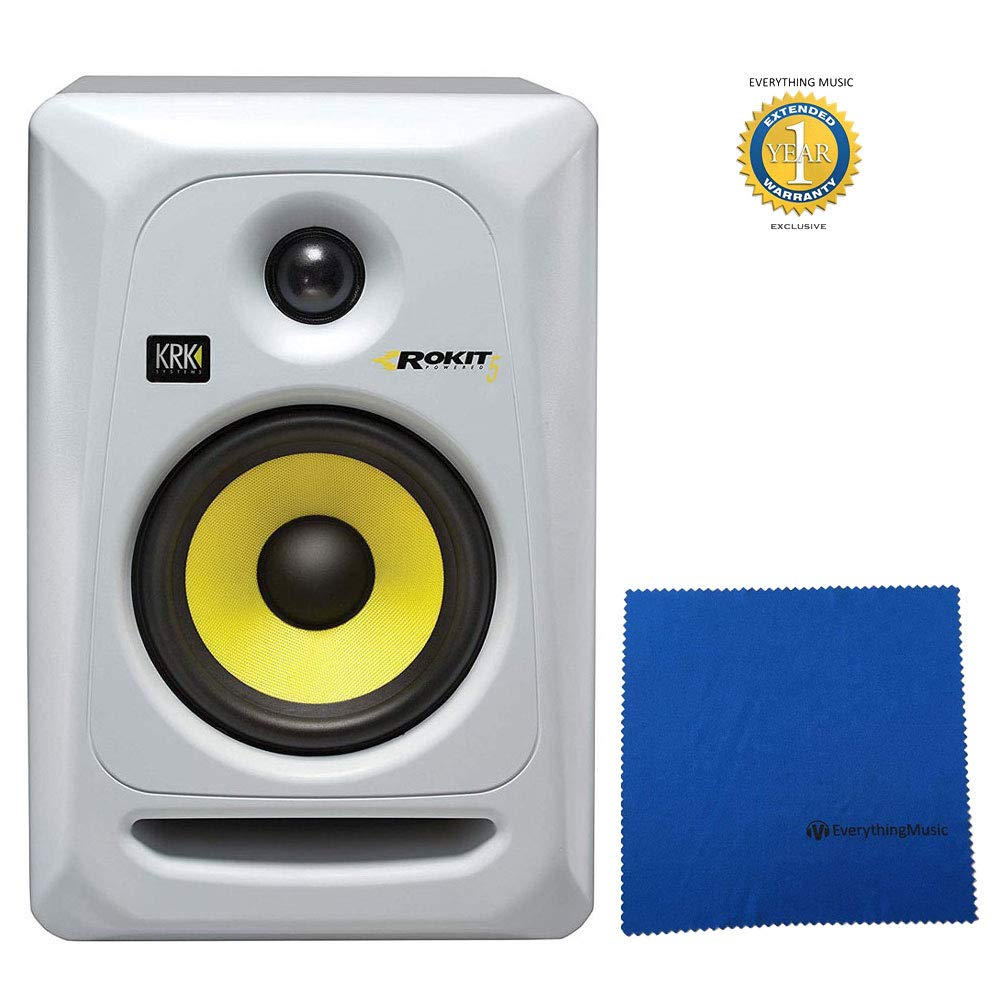 KRK RP5 G3 Rokit 5 G3 50W 5' 2-Way Powered Studio Monitor White with Microfiber and Free EverythingMusic 1 Year Extended Warranty