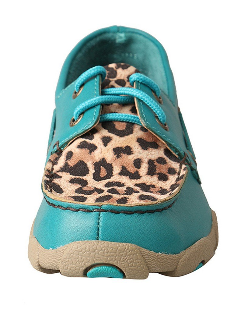 Twisted X Kid's Driving Moccasins - Turquoise/Leopard (3) by Twisted X (Image #2)