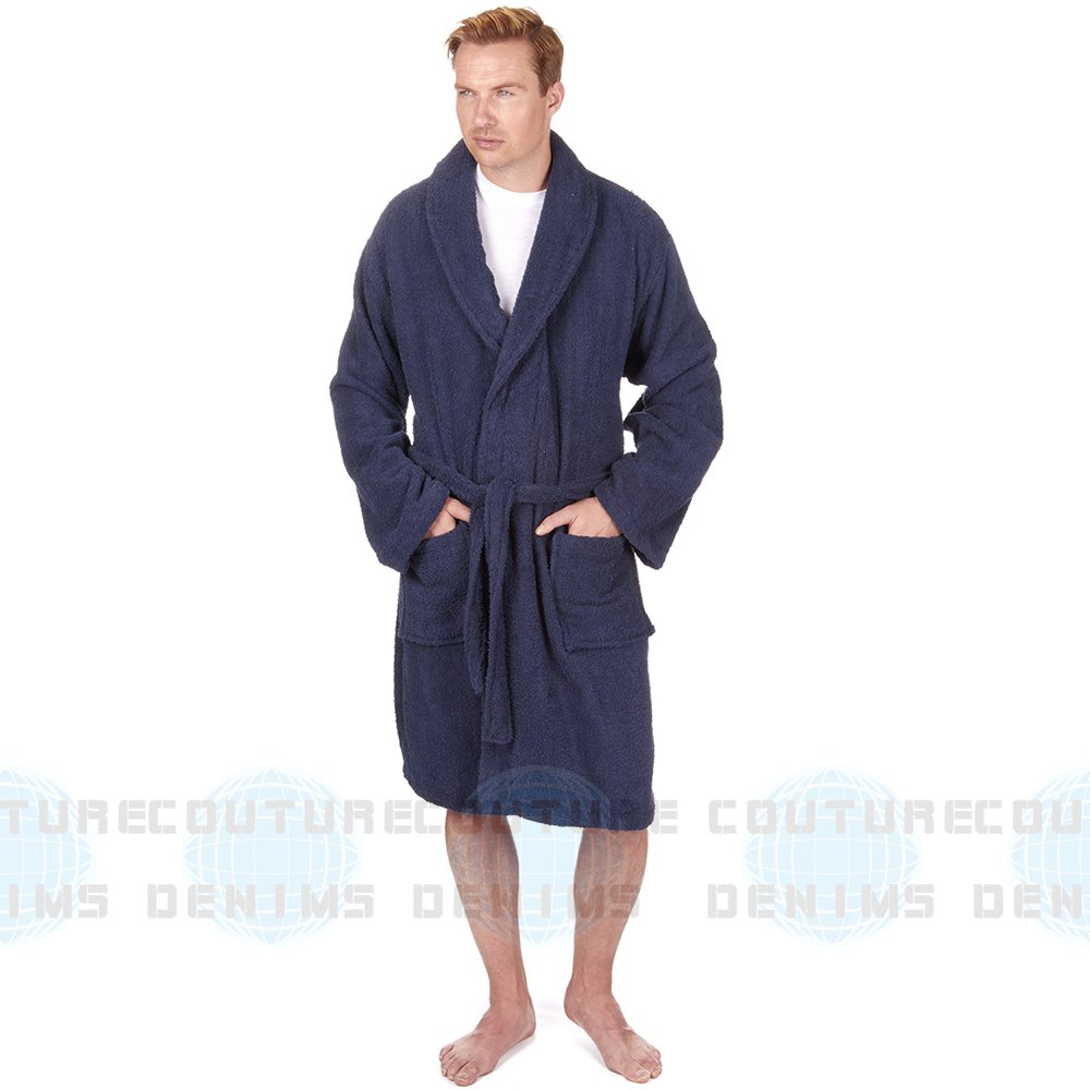Mens 100% Cotton Terry Cloth Towelling Bath Spa Robe Dressing Gown Soft  Warm UK  Amazon.co.uk  Clothing 148742f9d