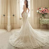Customized Lace Backless Wedding Dresses Bride Sexy Mermaid Civil Wedding Gowns