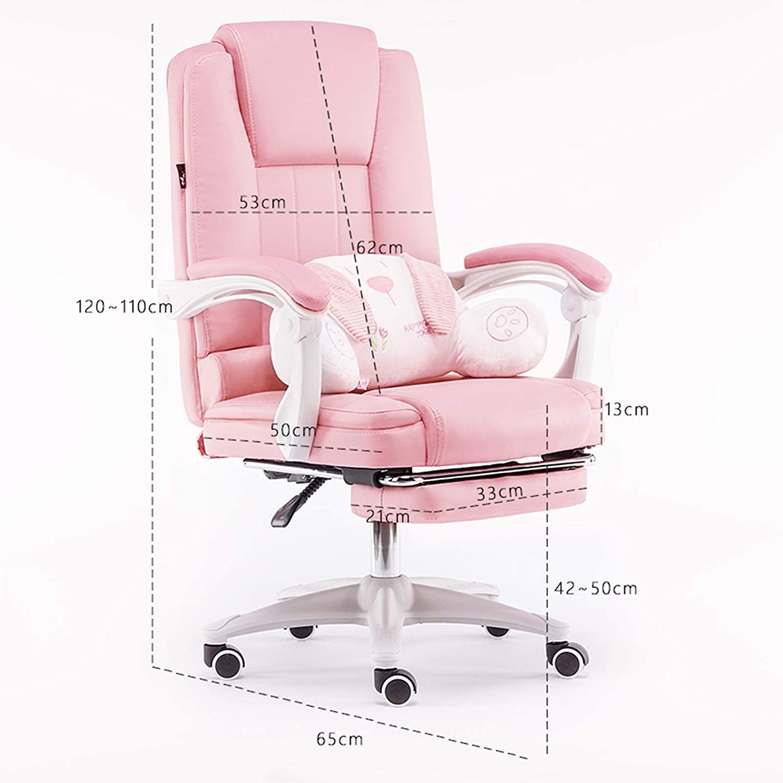 YYL kontorsstol dator kontor svängbar stol, ergonomisk hög rygg PU skrivbordsstol, justerbar svängbar stol (färg: Beige) BEIgE