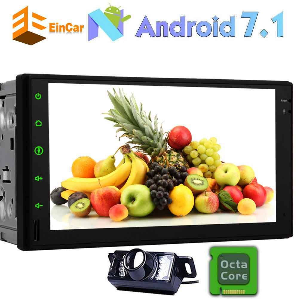 バックアップカメラが含まれて!カーステレオダブルディンホイールコントロール3G/4Gステアリングダッシュアンドロイド7.1ヌガーGPSナビゲーションシステムラジオ7インチの容量性タッチスクリーンのサポートのBluetooth OBD2のWiFiで B077TM53H1
