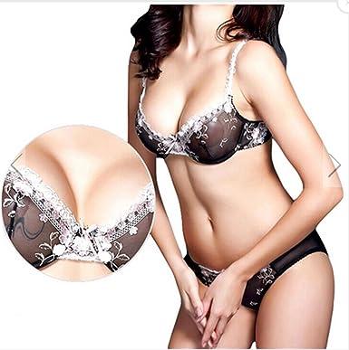 suzanne vega Women s Embroidery Push up Bras Set Lace Lingerie Bra Panties  Transparent Black Suit (32B 60597ab2b