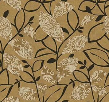 Wallpaper Designer Modern Art Deco Style Leaves Leaf Black Vines ...
