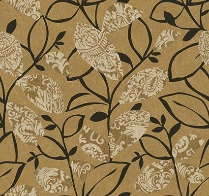 Wallpaper Designer Modern Art Deco Style Leaves Leaf Black Vines On Gold