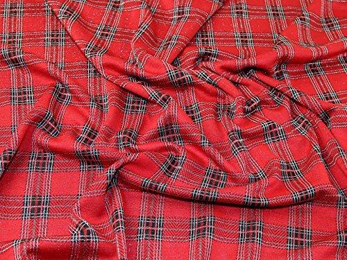 Lurex Check - Lurex Plaid Tartan Check Design Stretch Jersey Knit Dress Fabric Red - per metre