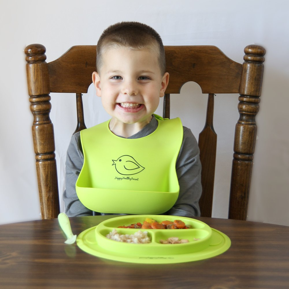 Spend Less Time Cleaning After Meals with a Baby or Toddler Silicone Bowl and Silicone Plate Easily Wipe Clean Self Feeding Set Reduces Spills Set Includes 2 Colors Turquoise//Lime Green