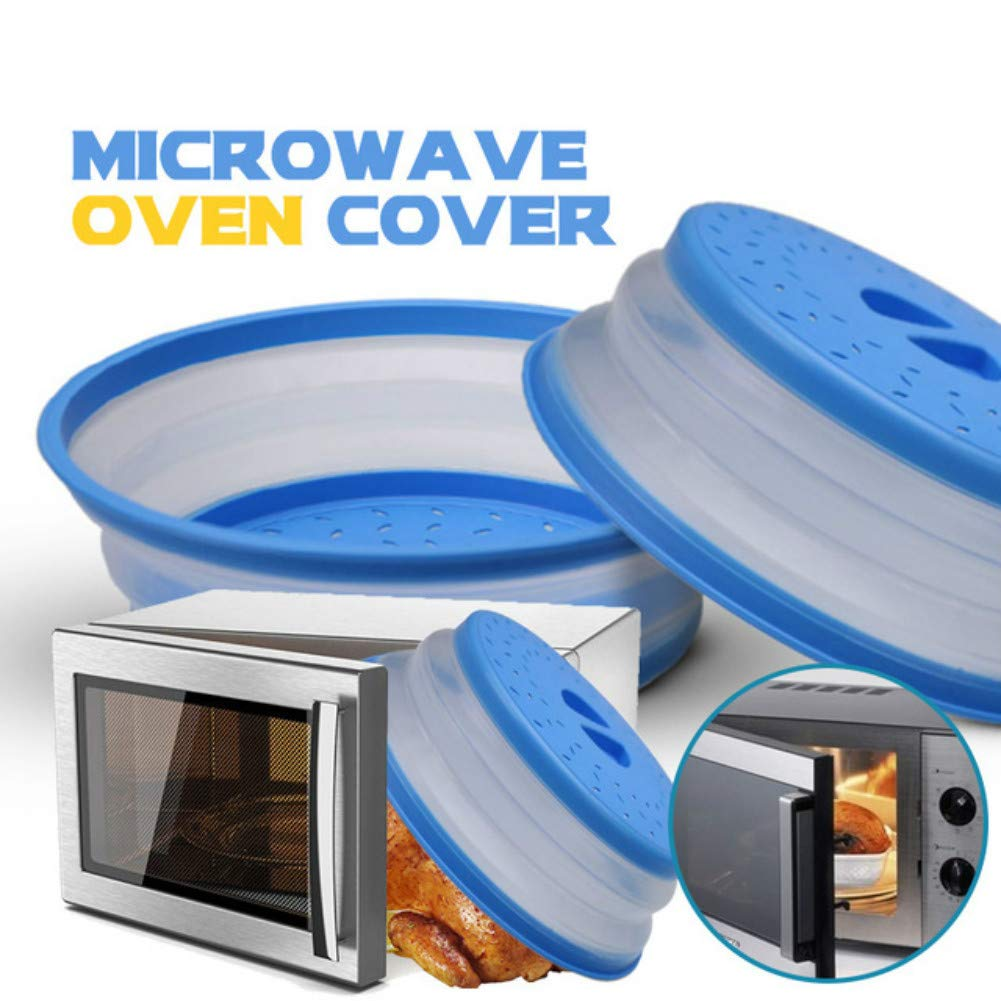 Collapsible Microwave Cover,Silicone Microwave Oven Splatter Lid Foldable Food Plate Vegetable Fruit Colander Strainer-Random Color Spinger