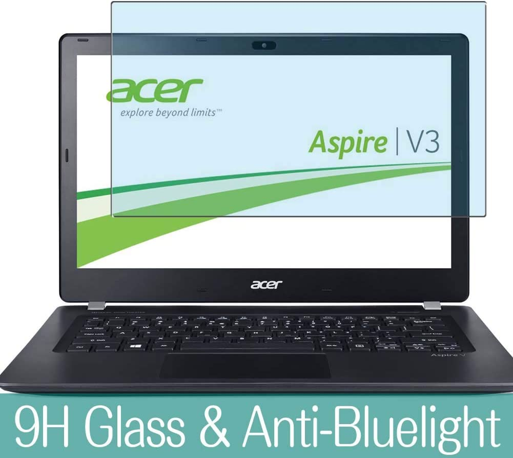 """Synvy Anti Blue Light Tempered Glass Screen Protector for Acer Aspire V3-371 / V3-372 / V3-372T 13.3"""" Visible Area 9H Protective Screen Film Protectors (Not Full Coverage)"""