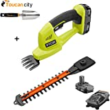 Toucan City Ryobi 18-Volt Lithium-Ion Cordless Grass Shear and Shrubber Trimmer - 1.3 Ah Battery and Charger Included P2910 and Hand Trowel