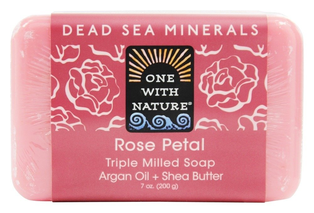 One With Nature Dead Sea Mineral Rose Petal Bar Soap - 7 Oz