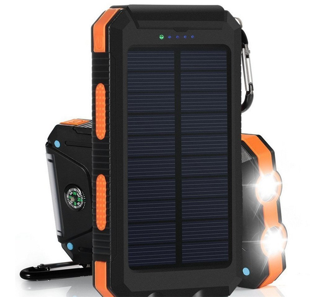 Digital-kingdom 20000mAh Solar Power Bank Solar Charger Waterproof Portable External Battery USB Charger Built in LED light with Compass for iPad iPhone Android Cellphones (Black & Orange)