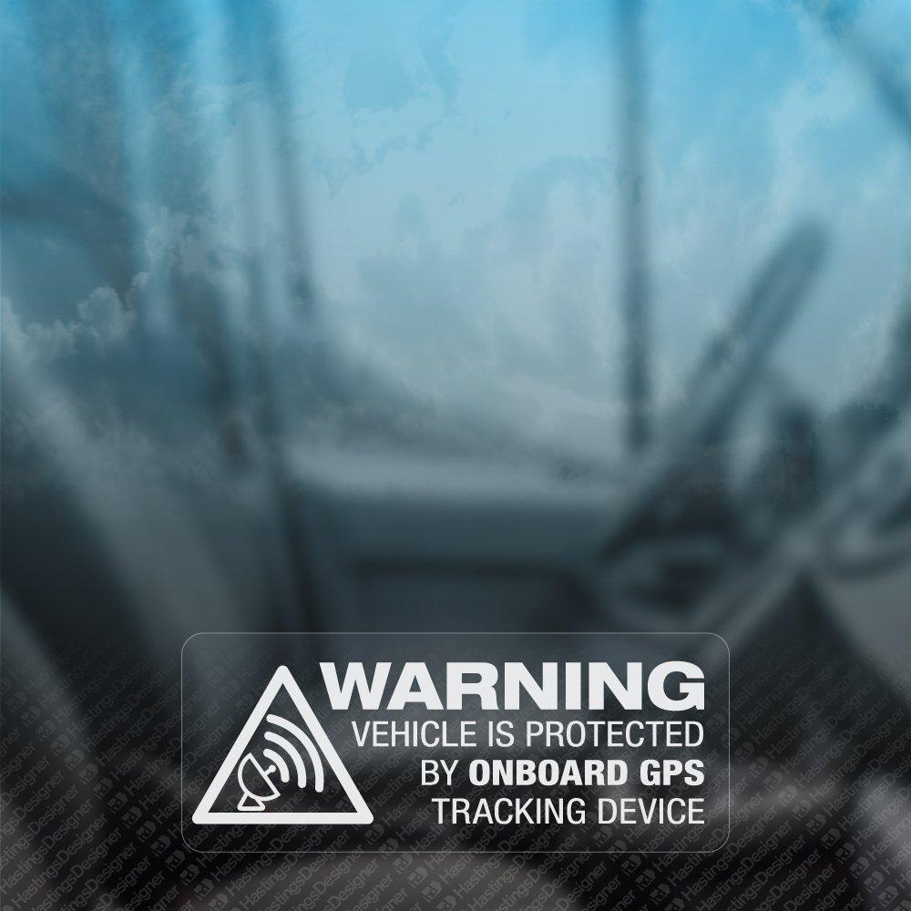 Pegatinas de advertencia de vehí culo con localizador GPS para ventanas. Con leyenda en inglé s. Ideal para coches, autocaravanas o motocicletas. 3 unidades HastingsDesigner