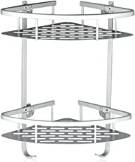 Lancher Bathroom Shelf (No Drilling) Durable Aluminum 2 Tiers Shower Shelf  Kitchen Storage Basket