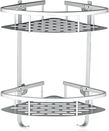 Shower Caddy No Drilling Aluminum Wall Mounted Corner Bathroom Shelf 2 Tiers Shelf Organizer Adhesive Storage Basket Silver