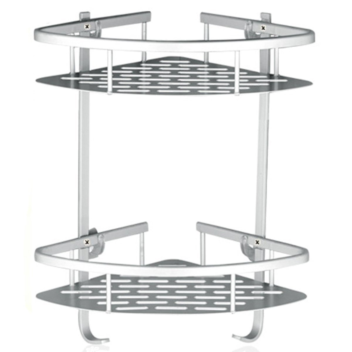 Fencher Bathroom Shelf ( No Drilling ) Durable Aluminum 2 tiers shower storage Towel Bar basket kitchen cornor sticky No Drills Shelves Fencher Co. Ltd Lancher Bathroom shower Shelf