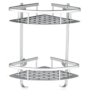 Lancher Bathroom Shelf (No Drilling) Durable Aluminum 2 tiers shower shelf Kitchen storage basket Adhesive Suction Corner Shelves Shower Caddy