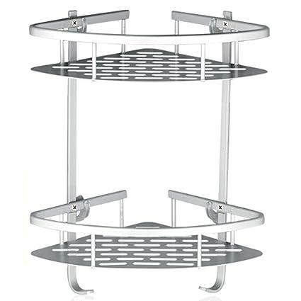 Lancher Bathroom Shelf (No Drilling) Durable Aluminum 2 Tiers Shower Shelf  Kitchen Storage Basket