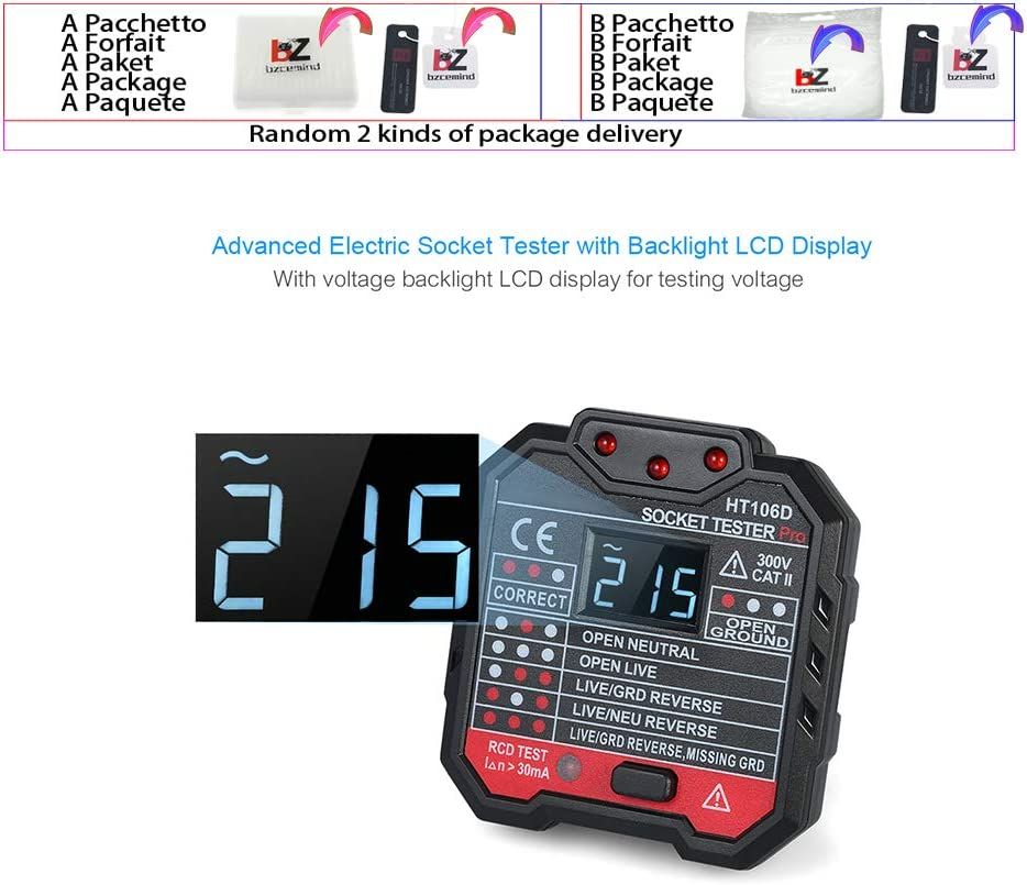US HT106B HT106D HT106E Digital Display Socket Tester Plug Polarity Phase Check detector Voltage Test Multi-function Electroscope,HT106B