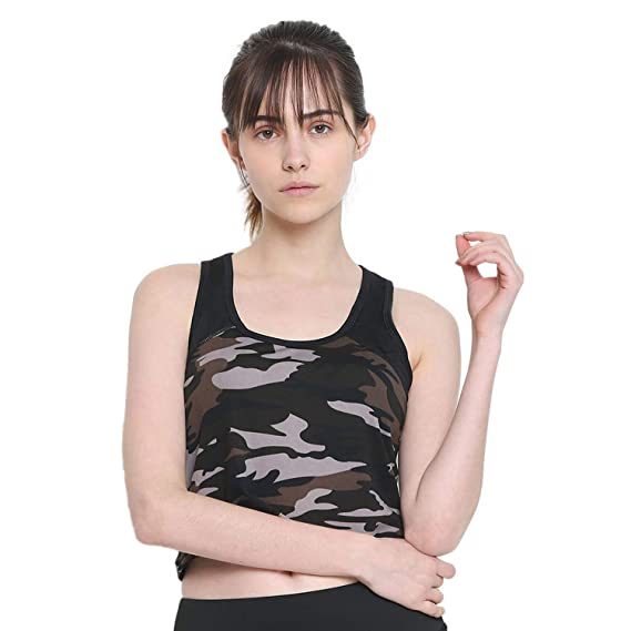 96eb2cd72683b CHKOKKO Polyester Women s Camouflages Sleeveless Yoga Gym Wear Workout Crop  Top Black Size S