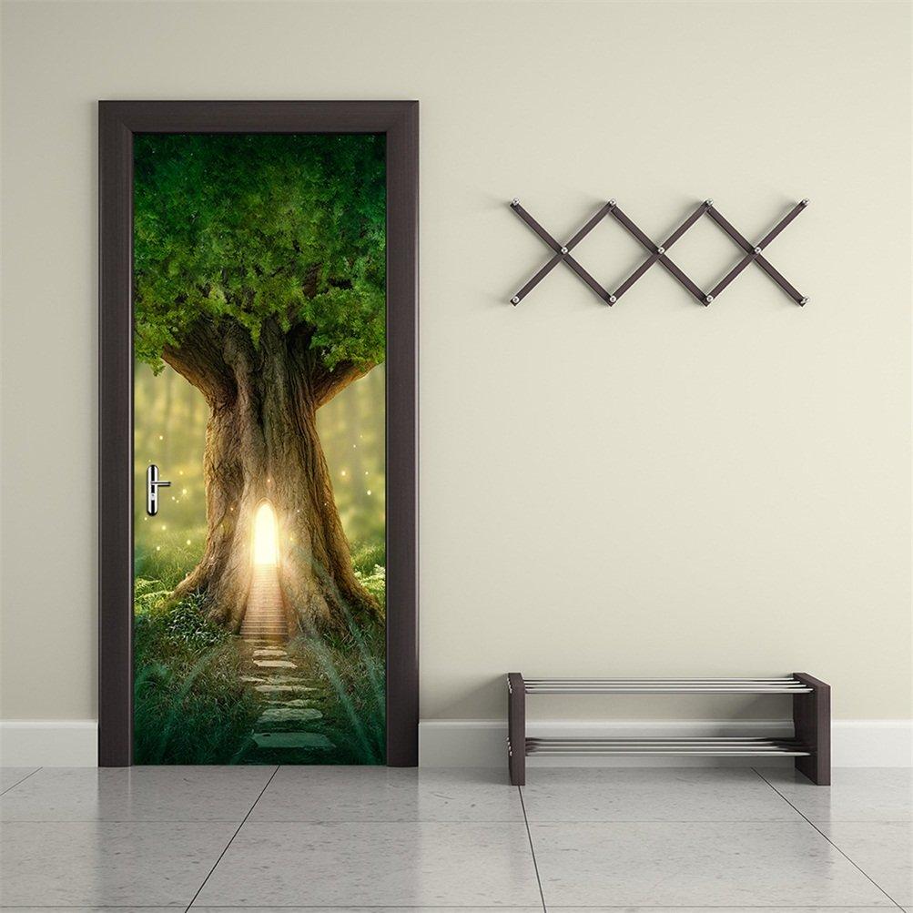 CaseFan 3d Door Wallpaper Murals Wall Stickers--Fantasy Tree for Home Decoration Self-adhesive Vinyl Removable Retro Art Door Decals 30.3x78.7''
