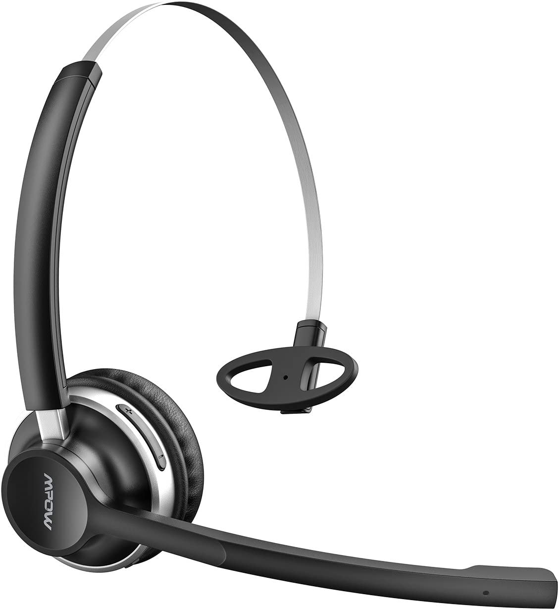 Mpow Trucker Bluetooth Headset, Dual Microphone Noise Canceling Office Headsets with Wired Mode, Lightweight On Ear Truck Driver Headset, Handsfree Car Bluetooth Headphones for Cell Phone/Call Center