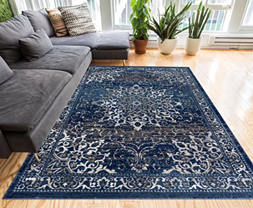 Coverly Blue & Beige Vintage Medallion Traditional Persian Oriental Area Rug 5 x 7 ( 5'3