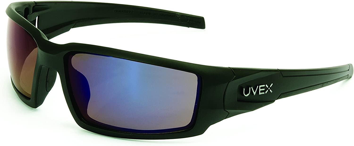 Uvex by Honeywell Hypershock Safety Glasses, Black Frame with Blue Mirror Lens & Anti-Scratch Hardcoat (S2945)