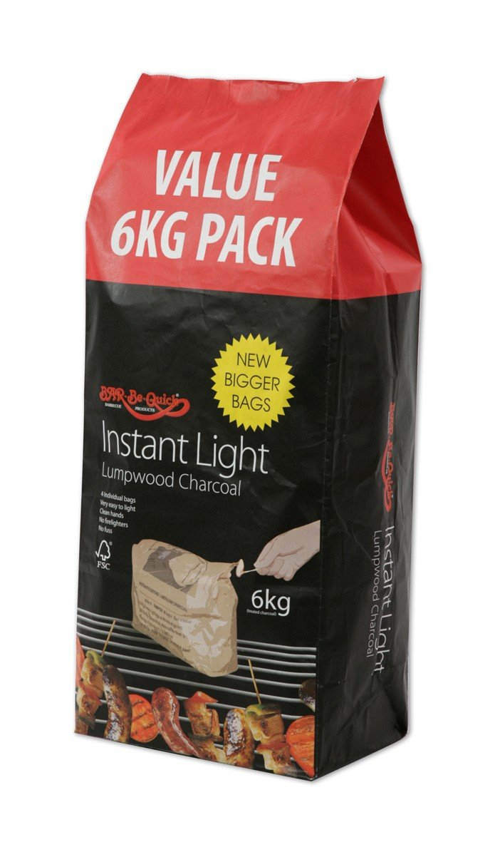 1 X Bar-Be-Quick 6kg Instant Lighting Charcoal- Clean, quick and easy- Simply place on BBQ & Light!