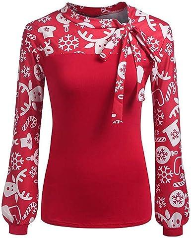 Blusa Navideña Jersey Navideño Jersey Navideño Suéter Feo Sudaderas Vintage Divertidas Suéteres Moda para Mujer Navidad Impreso Tops Manga Larga Tops Niñas Casual Pajarita Blusas: Amazon.es: Ropa y accesorios