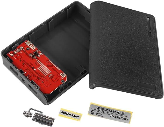 De plástico de color negro Batería externa USB luz LED 18650 caja DIY Cargador de Batería: Amazon.es: Electrónica