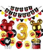 زينة عيد ميلاد ميكي الثالثة للأولاد ميكي 3 سنوات لوازم حفلات أعياد الميلاد مع بالونات الفويل رقم 3 لافتة عيد ميلاد جارلاند
