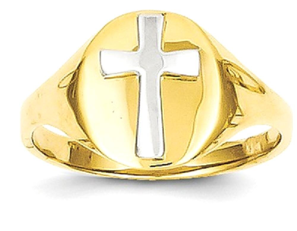 ICE CARATS 14k Yellow Gold Cross Religious Baby Band Ring Size 4.00 Fine Jewelry Gift Set For Women Heart