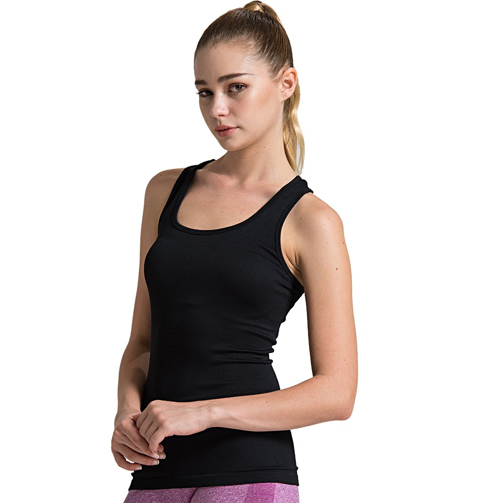 1pack Black Semath Tank Top for Women, Running Workout Clothes Athletic Yoga Racerback 16 Pack