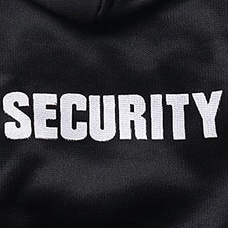 Doggie Style Store Black Security Guard Dog Pet Cat Hoodie Hooded Jumper Sweater Hoody Size XS