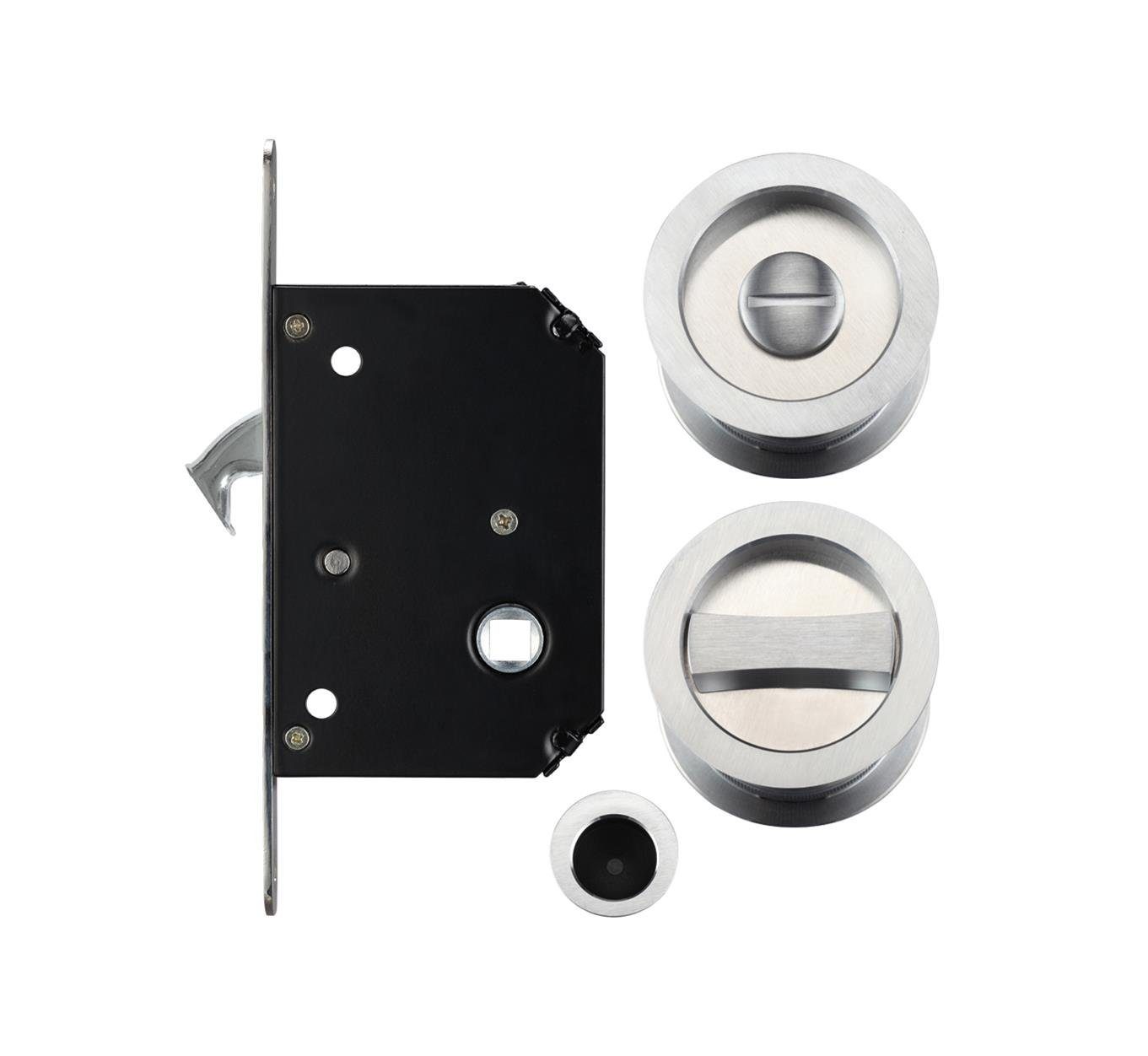 Sliding Pocket Door Bathroom Privacy Lock Set (Polished Chrome) Zoo UKASNHKTN7880