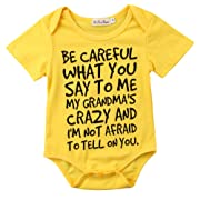 Charm Kingdom Baby Boy Girl be Careful What You Say to me My Grandmas Crazy Bodysuit (70 (0-6M), Yellow)