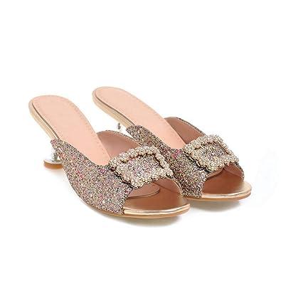 99bcd5f1be6a JEFCY Women Kitten High Heel Slides Sandals Buckle Rhinestone Comfort Slip  On Peep Toe Stiletto Dress