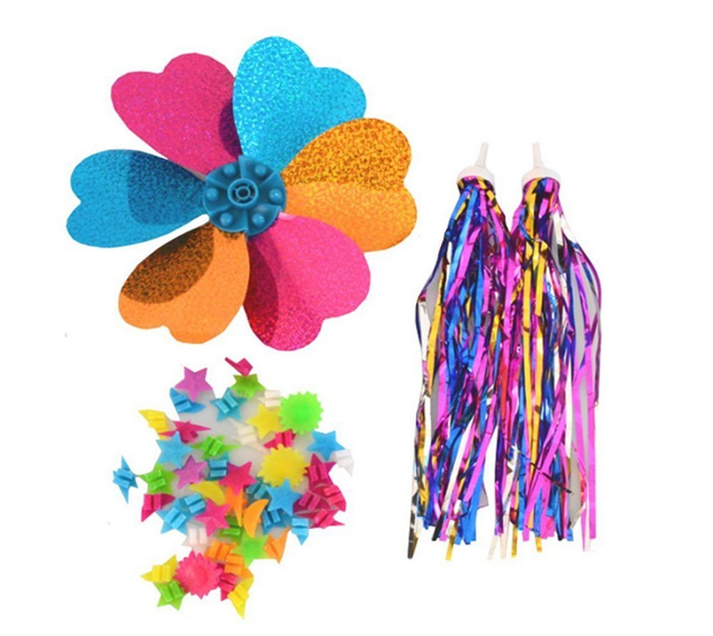 1Set 3PCS Kids Children Scooter Bike Handlebar Colourful Streamers Pom-pom Pair Bicycle Grips Sparkle Tassel Ribbon /Flower Pinwheel /Wheel Spoke Stars Beads Decoration Baby Carrier Accessories erioctry