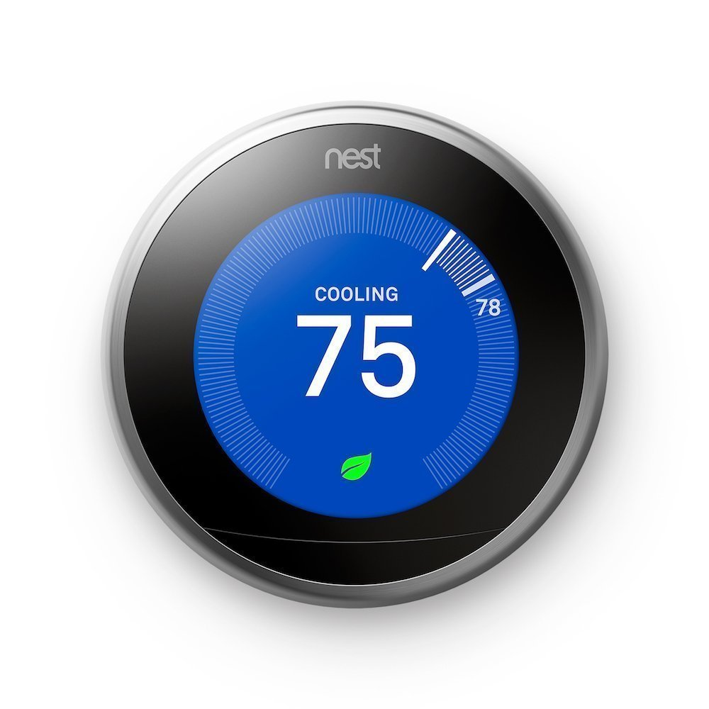 Nest T3007ES Learning Thermostat Easy Temperature Control Stainless Steel Construction Works Alexa, Silver Black (Renewed)