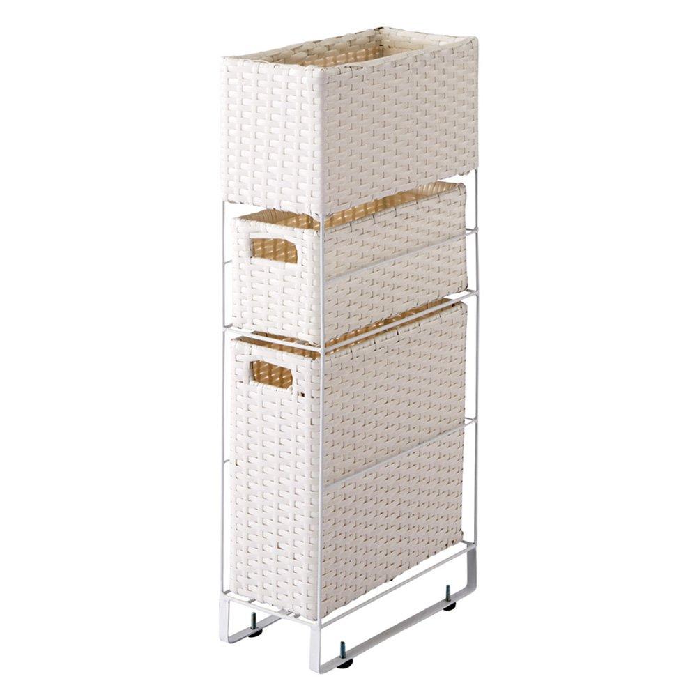 ラタン風 ランドリーチェストシリーズ すき間スリム3段(幅15奥行31高さ65cm) 502170(サイズはありません イ:ホワイト) B0794V8XTJ  イ:ホワイト