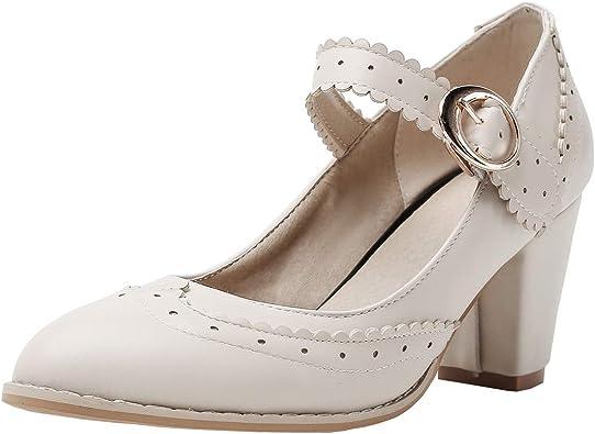 Womens Rockabilly Shoes Mary Jane Block