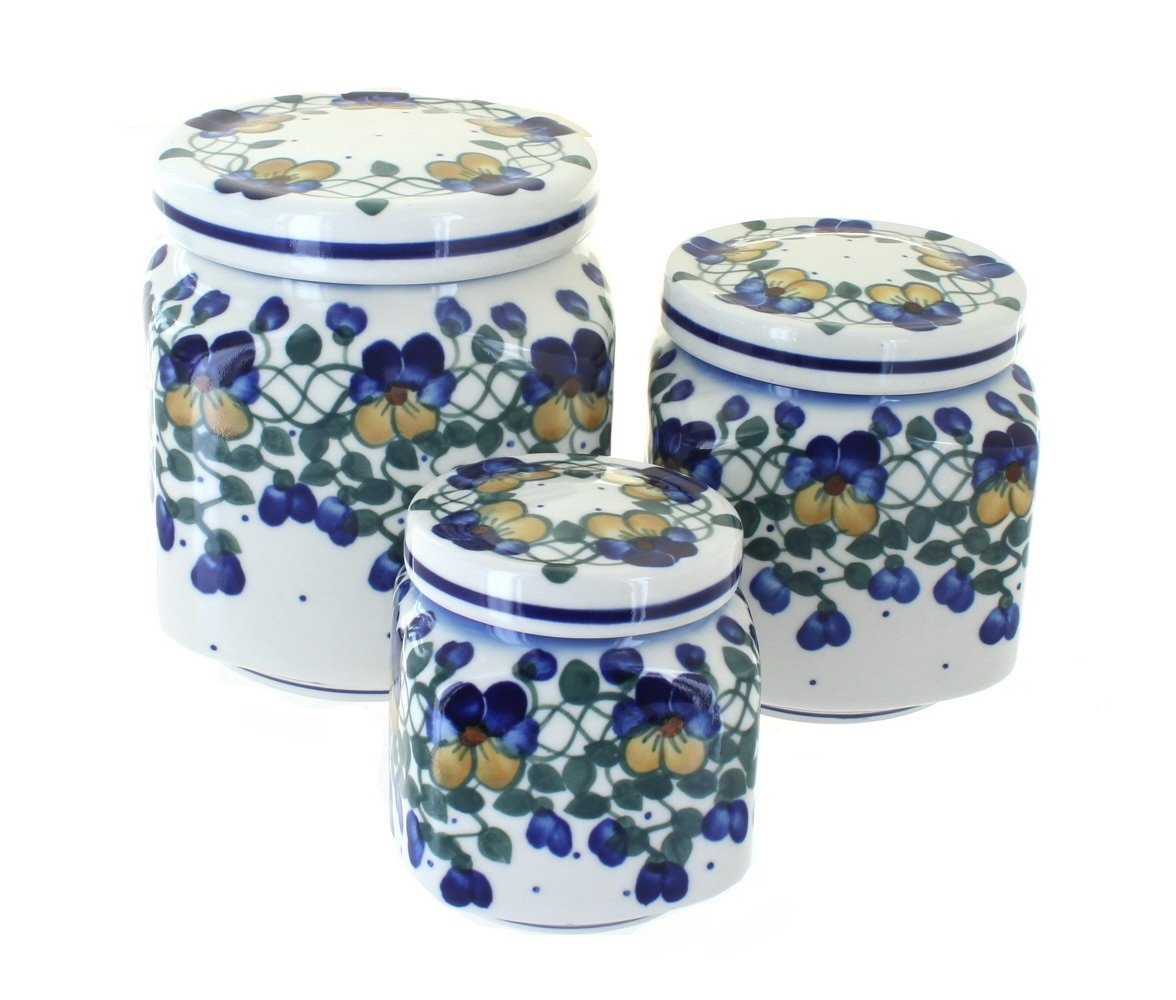 Blue Rose Polish Pottery Pansies 3 Piece Canister Set