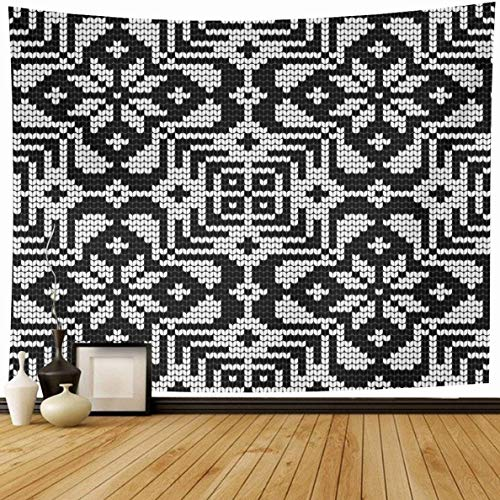 Ahawoso Tapestry 80 x 60 Inches Baltic Pattern Ugly Sweater Abstract Black Vintage Canvas Christmas Craft Design Icelandic Home Decor Wall Hanging Print for Living Room Bedroom Dorm