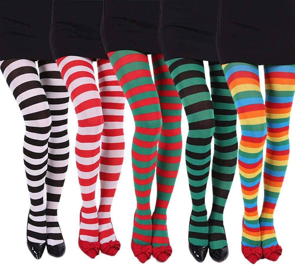 Janny-shop Medias a Rayas para Mujer de Navidad Calcetines Elásticos Accesorios para Juegos de rol de Halloween Accesorios para Disfraces de Fiesta de Navidad