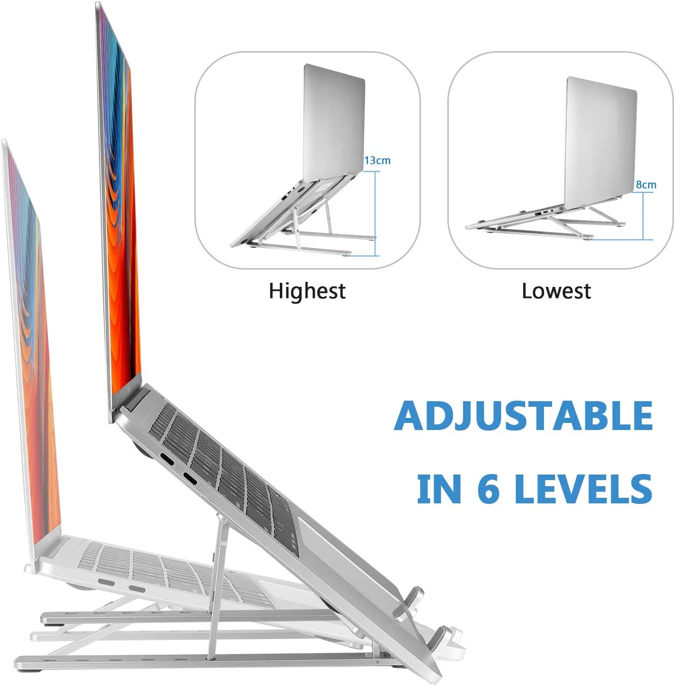 Coomaxx Portable laptop stand Aluminum Foldable Holder 6 levels Height /& Angle Adjustable,MacBook Stand Portable,Universal Desktop Stand Holder Compatible with 7~15.4 inch tablet,Macbook,Notebook