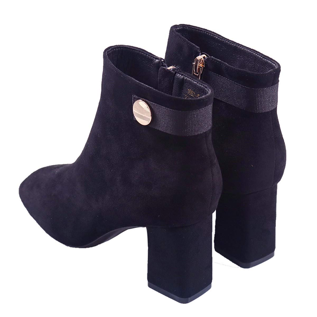 Olici Damen Stiefel Stiefel Stiefel Stiefel Stiefel Stiefel Stiefel mit dickem Absatz   7 cm Wildleder, quadratischer Kopf, seitlicher Reißverschluss, Schwarz d126c2