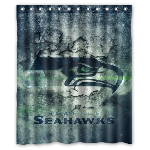 Vintage Design NFL Seattle Seahawks New Style Polyester Bathroom Shower Curtain 60Wx72H Amazoncouk Kitchen Home