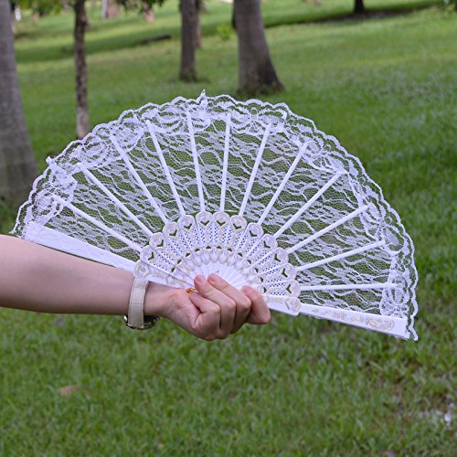 Metable Lace Folding Fan with Plastic Ribs Women Handheld folded Fans for Dancing Cosplay Wedding Decoration(White)