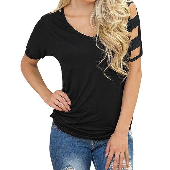 9538e565733a31 HLHN Sommer Bluse Damen Hohle Loch Kurzarm Party Strand Oberteil Tops T- Shirt: Amazon.de: Bekleidung